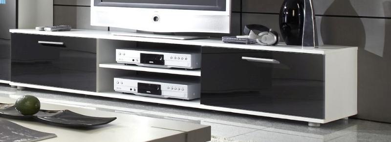 Televizní stolek Zara - bílý/černý - II. jakost