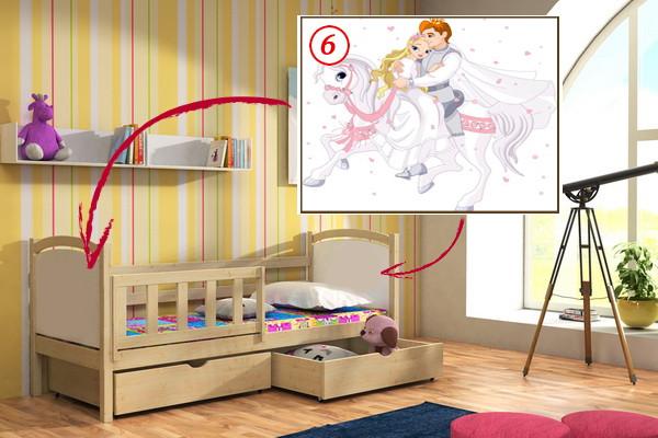 Vomaks Dětská postel DP 013 - 06 Princ a princezna KOMPLET 180 cm x 80 cm Bezbarvý ekologický lak