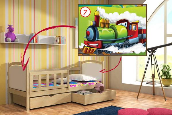 Vomaks Dětská postel DP 013 - 07 Lokomotiva + zásuvky 200 cm x 80 cm Bezbarvý ekologický lak