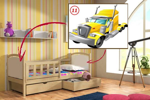 Vomaks Dětská postel DP 013 - 11 Tahač + zásuvky 200 cm x 80 cm Bezbarvý ekologický lak