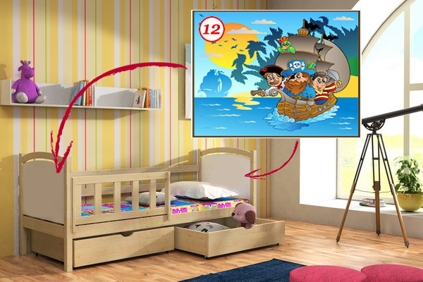 Vomaks Dětská postel DP 013 - 12 Pirátská loď 180 cm x 80 cm Barva bílá