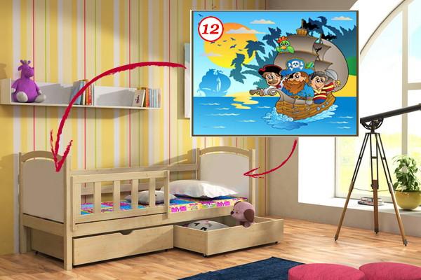 Vomaks Dětská postel DP 013 - 12 Pirátská loď + zásuvky 200 cm x 80 cm Moření olše