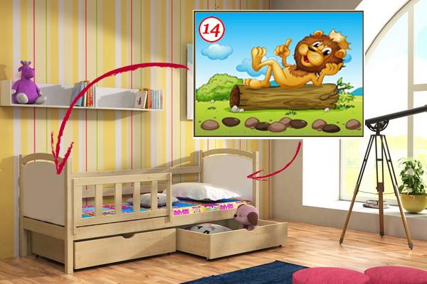 Vomaks Dětská postel DP 013 - 14 Lev KOMPLET 200 cm x 80 cm Bezbarvý ekologický lak