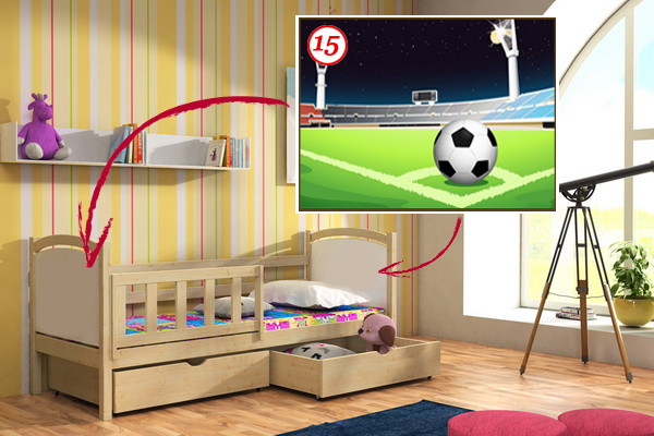 Vomaks Dětská postel DP 013 - 15 Fotbalové hřiště + zásuvky 180 cm x 80 cm Moření olše