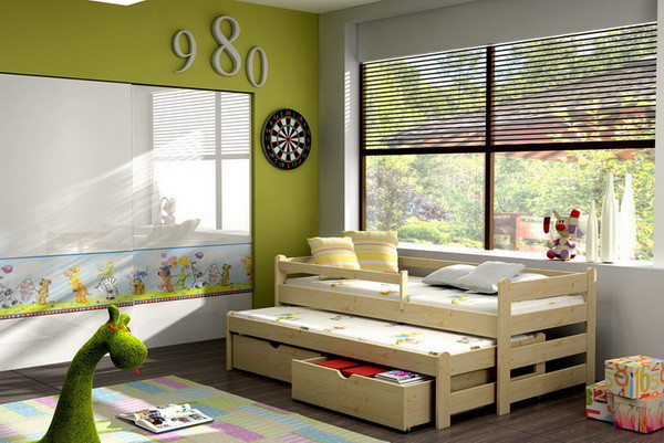 Dětská postel s výsuvnou přistýlkou DPV 001 + zásuvky