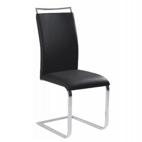 Jídelní židle BARNA - černá ekokůže / chrom