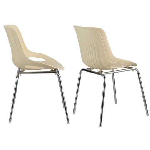Jídelní židle EDLIN - béžová +chrom