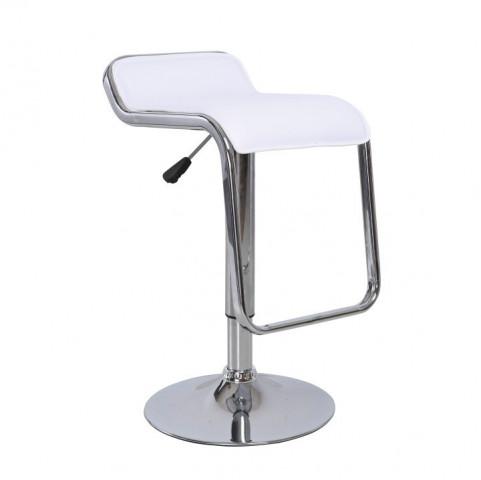Barová židle ILANA - bílá ekokůže / chrom