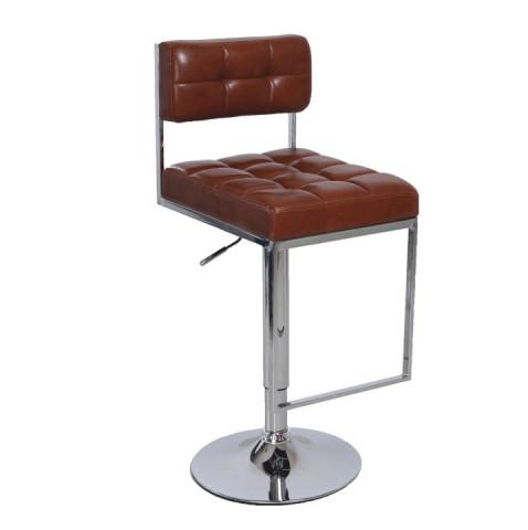 Barová židle GORDY - hnědá ekokůže / chrom
