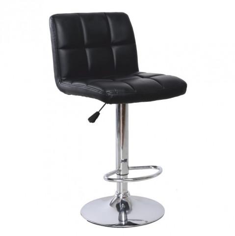 Barová židle KANDY - černá ekokůže / chrom