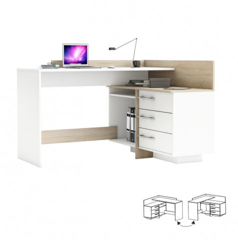 PC stůl TALE 484881 - dub sonoma / bílá