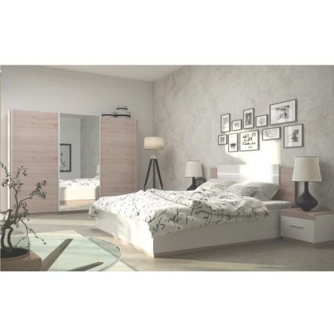 Noční stolek MIRAN - dub san remo / bílá