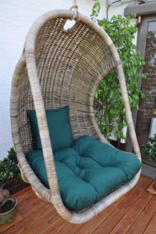 Závěsná houpačka Bellucy - polstr zelený dralon