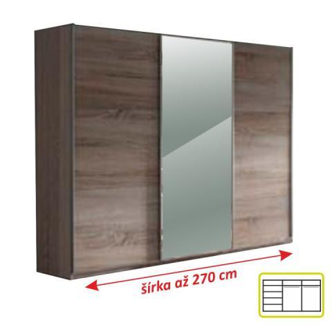 Skříň třídveřová se zrcadlem, dub san remo / bílá, MIRAN