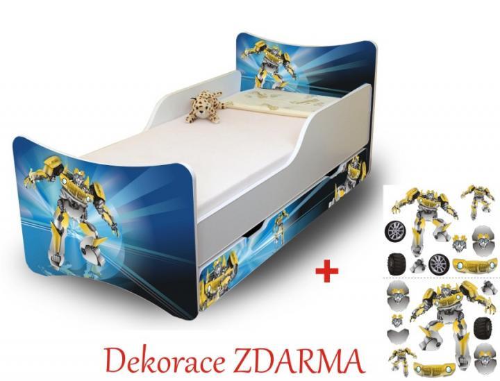 Forclaire Dětská postel Robot Úložný prostor pod postel 140x70cm