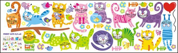 Forclaire Dekorace na zeď FUNNY CATS - 1 m2