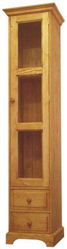 Unis Dřevěná skříň vysoká prosklená 00171