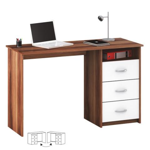 PC stůl LARISTOTE - švestka/bílá