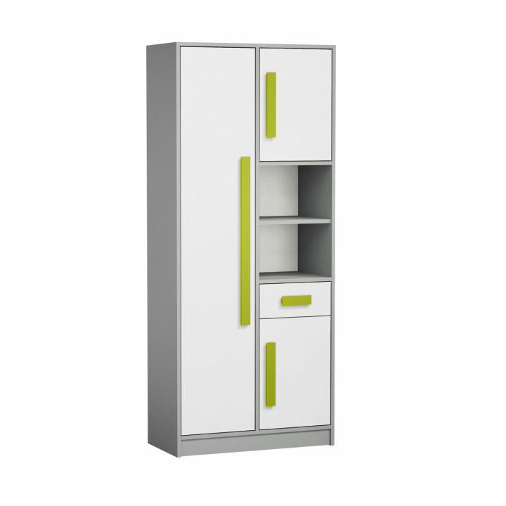 Skříň - regál PIERE P03 - šedá/bílá/zelená