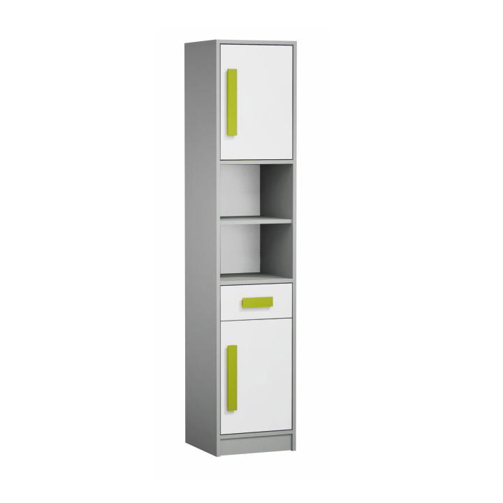 Skříň - regál PIERE P04 - šedá/bílá/zelená