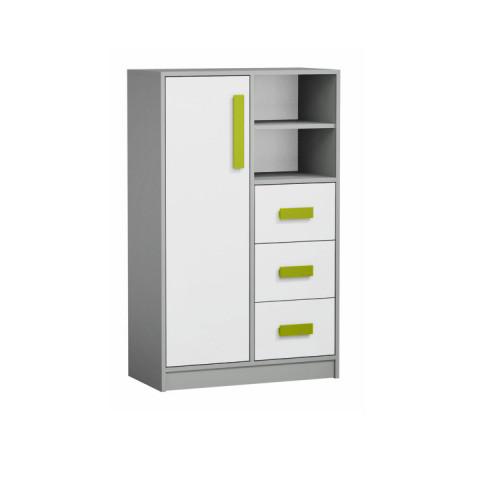 Komoda vysoká PIERE P05 - šedá/bílá/zelená