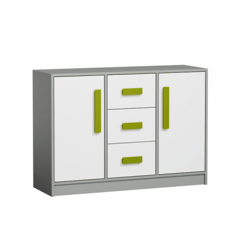 Komoda PIERE P06 - šedá/bílá/zelená