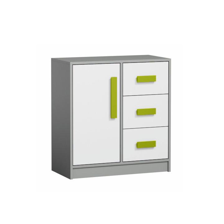 Komoda PIERE P07 - šedá/bílá/zelená