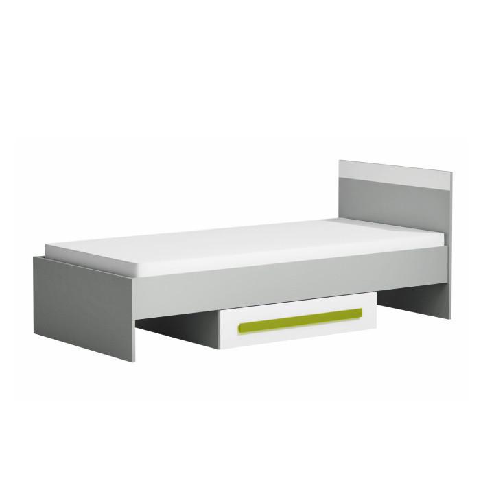 Postel s úložným prostorem PIERE P12 - šedá/bílá/zelená