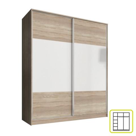 Skříň AVA 180 cm - dub sonoma/bílá
