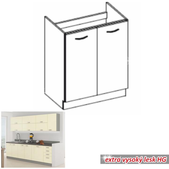 Tempo Kondela Kuchyňská skříňka PRADO 80 ZL 2F BB - krémová + kupón KONDELA10 na okamžitou slevu 10% (kupón uplatníte v košíku)