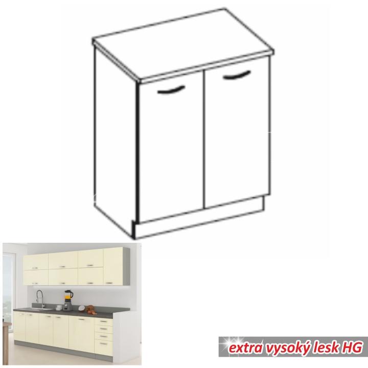 Tempo Kondela Kuchyňská skříňka PRADO 80 D 2F ZB - krémová + kupón KONDELA10 na okamžitou slevu 10% (kupón uplatníte v košíku)