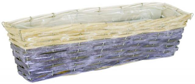 Proutěný obal na květiny - hranatý, fialovo-bílý
