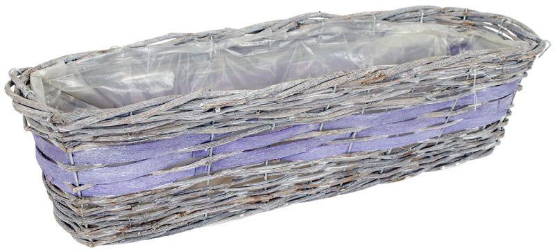Autronic Proutěný obal na květiny - hranatý, šedo-fialový 63x22x18 cm