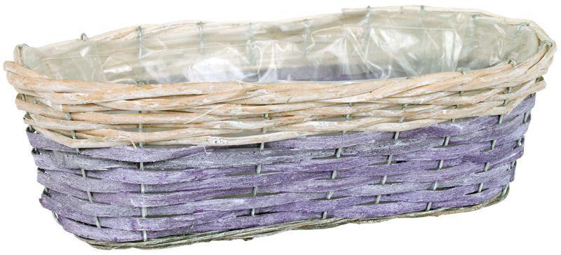Autronic Proutěný obal na květiny - oválný, fialovo-bílý 1 49x14x21 cm