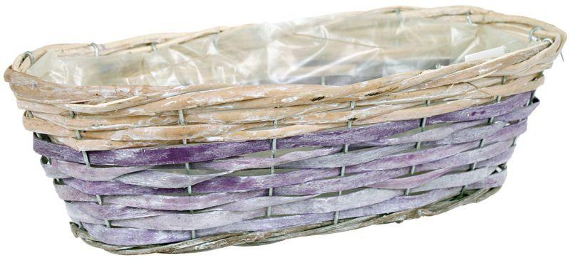 Autronic Proutěný obal na květiny - oválný, fialovo-bílý 2 46x14x22 cm