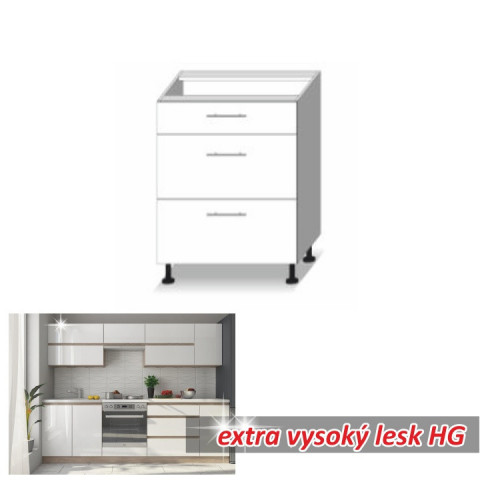 Kuchyňská skříňka LINE WHITE D60 3 ZAS
