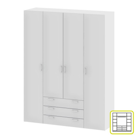 Skříň, 4 - dveřová, bílá, GWEN 70429