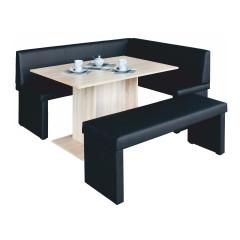 Rohová lavice MODERN černá - LEVÁ - + stůl Modern + lavice Modern
