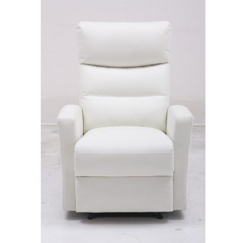 Relaxační křeslo SILAS - bílá ekokůže