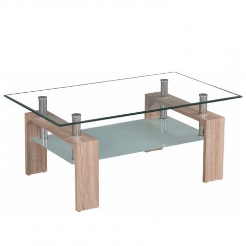 Konferenční stolek LIBOR NEW - sklo/dub sonoma