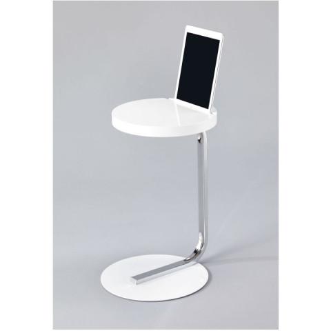Příruční stolek MILANA se zářezem na tablet - MDF + kov + chrom, bílý