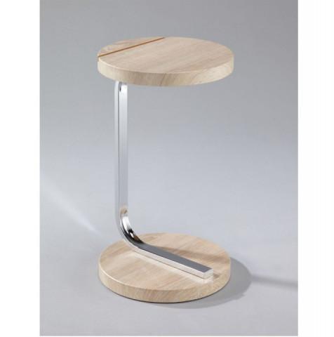 Příruční stolek MILANA se zářezem na tablet - MDF + chrom, dub sonoma