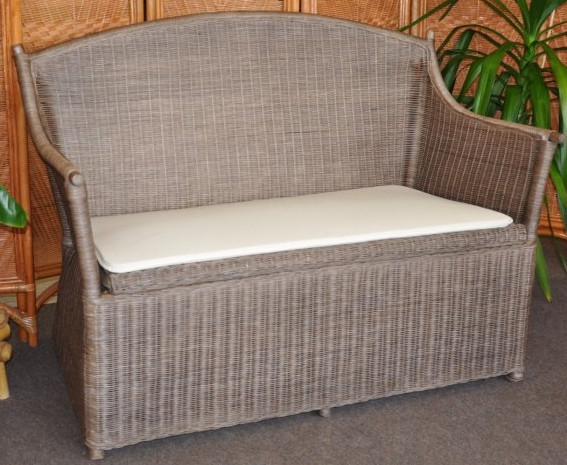 Ratanová lavice s úložným prostorem, hnědá