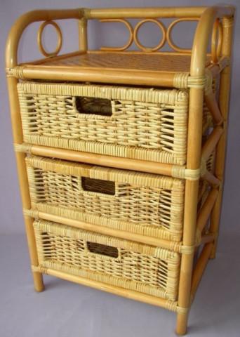 Ratanová komoda 3 zásuvky - medová