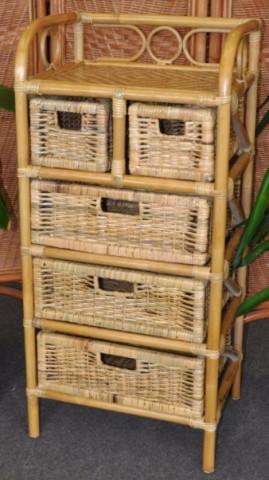 Ratanová komoda 3+2 zásuvky - medová