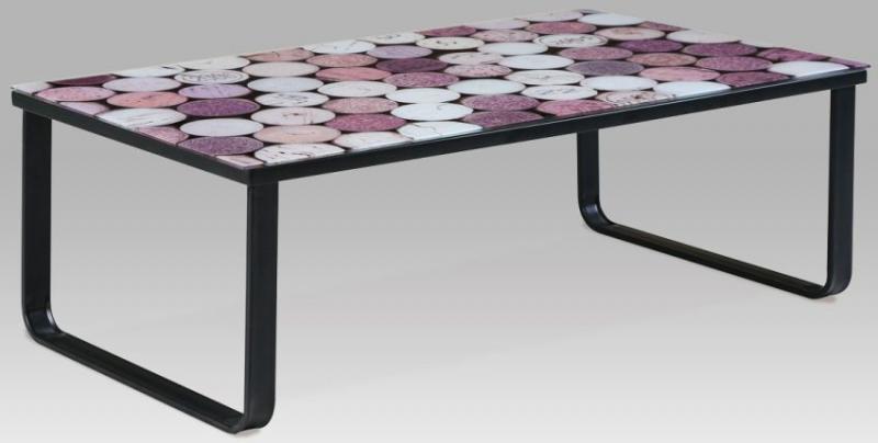 """Autronic Konferenční stolek s potiskem CT-1010 GRA - """"LP"""""""