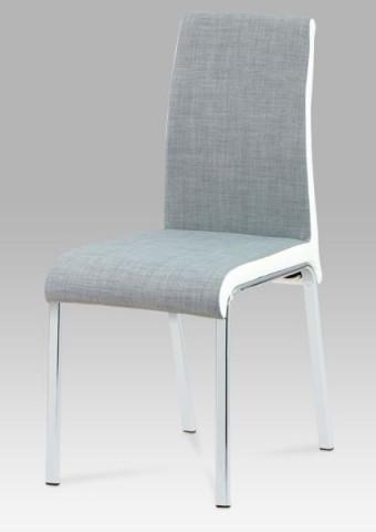 Jídelní židle DCL-506 - GREY2 - látka šedá+koženka bílá