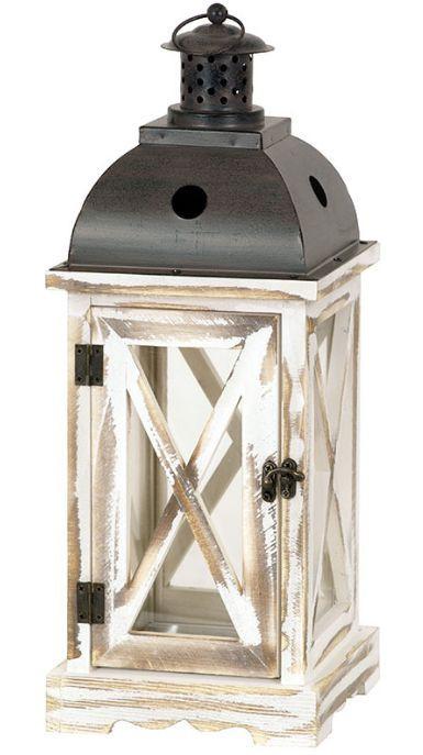 Dřevěná lucerna s kovovou stříškou LUC020