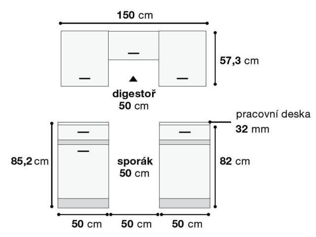 Kuchyňská linka Junona Line Mini 150 - wenge/dub sonoma - Schéma