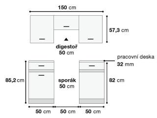 Kuchyňská linka Junona Line Mini 150 - bílý lesk/šedý wolfram - Schéma